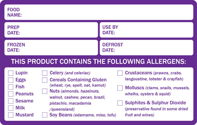Allergy Labels Dy075 Combined Food Prep Amp Allergen